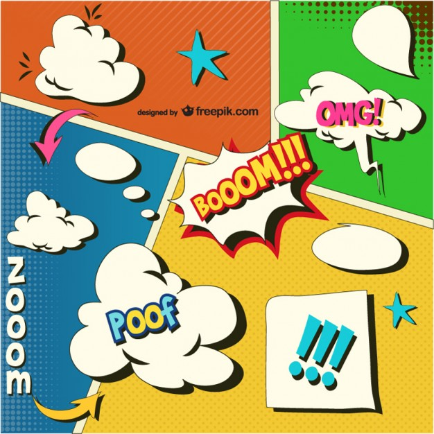 626x626 Comic Book Onomatopoeias And Speech Bubbles Vector Free Download