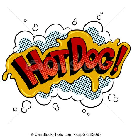 450x470 Hot Dog Word Comic Book Pop Art Vector. Hot Dog Word Pop Art Retro