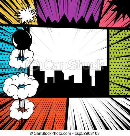 450x470 Pop Art Comic Book Colored Backdrop. Pop Art Comics Book Magazine