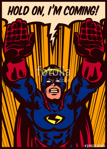 360x500 Pop Art Comic Book Style Superhero Flying To The Rescue Vector