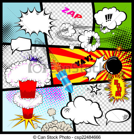450x470 Retro Comic Book Speech Bubbles. Vector Design Elements.