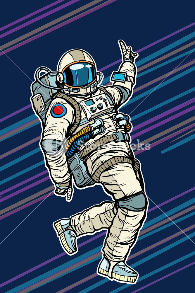 667x1000 Astronaut Dancing Disco Funny. Pop Art Retro Comic Book Vector