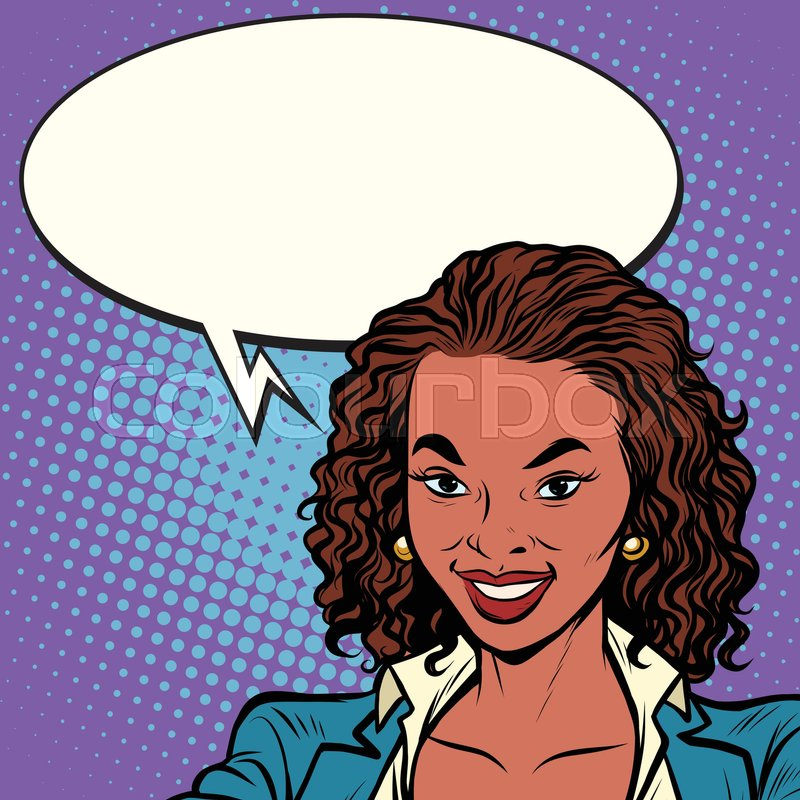 800x800 Beautiful African American Woman Smiling, Pop Art Retro Comic Book