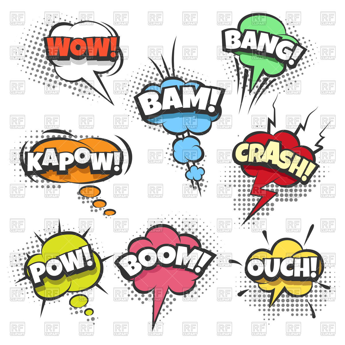 1200x1200 Comic Sound Effects Text In Sound Bubbles Vector Image Vector