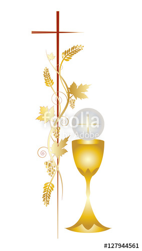 283x500 First Communion Vector Color Design Illustration, With Vine Grapes