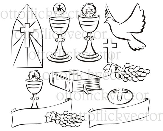 570x458 Holy Communion Vector Silhouettes Clipart Eps Ai Cdr Png Etsy