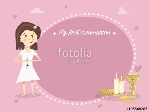 500x375 My First Holy Communion. Vector Stock Image And Royalty Free