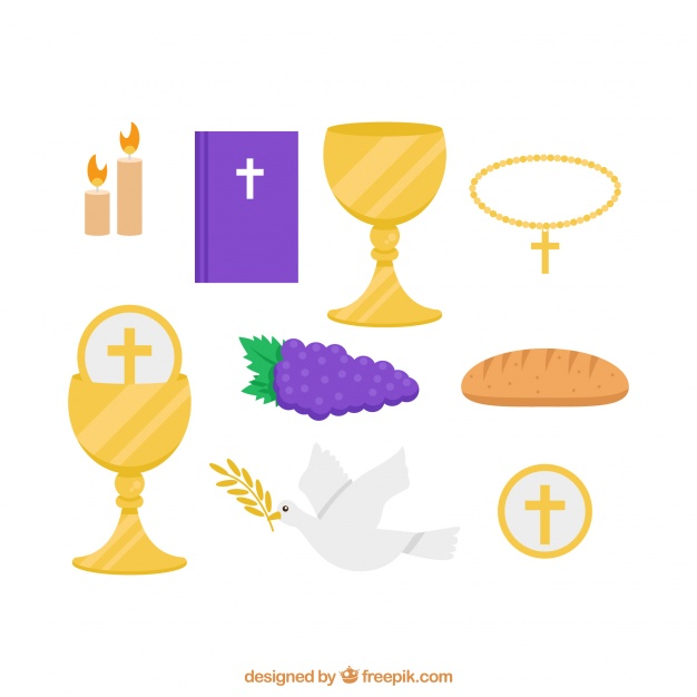 626x626 Several Traditional Elements Of First Communion Vector Free Download