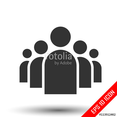 500x500 Community Icon. Group Of Five People. Share Symbol. Group Of