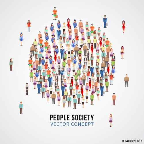 500x500 Large People Crowd In Circle Shape. Society, People Community