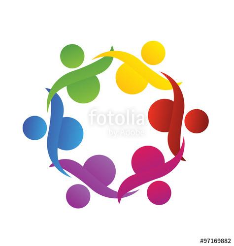 475x500 Logo Teamwork People Helping Union Community Vector Stock Image