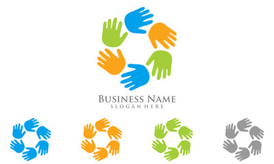 400x240 Colorful Tree Hand Logo, Social Community Vector Logo Design
