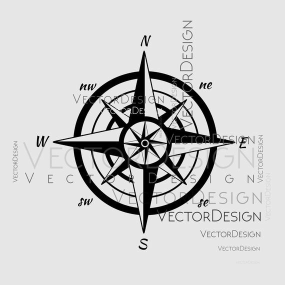 570x570 Map Compass V2 Graphics Svg Dxf Eps Png Cdr Ai Pdf Vector Art Etsy
