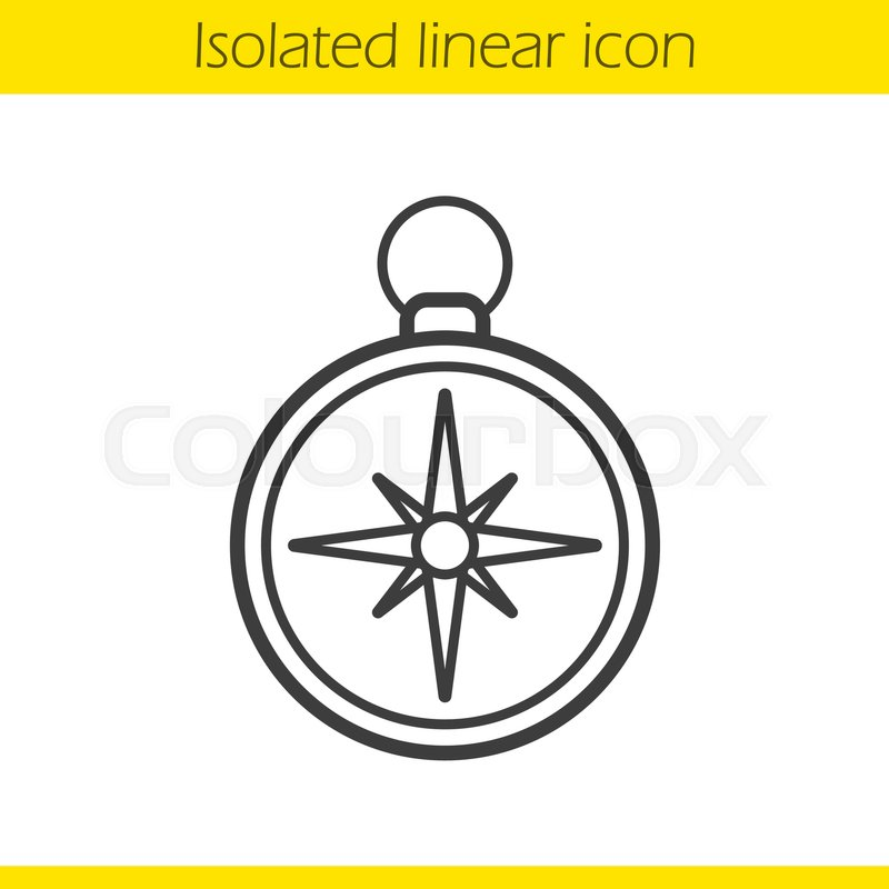 800x800 Compass Linear Icon. Pocket Compass Thin Line Illustration