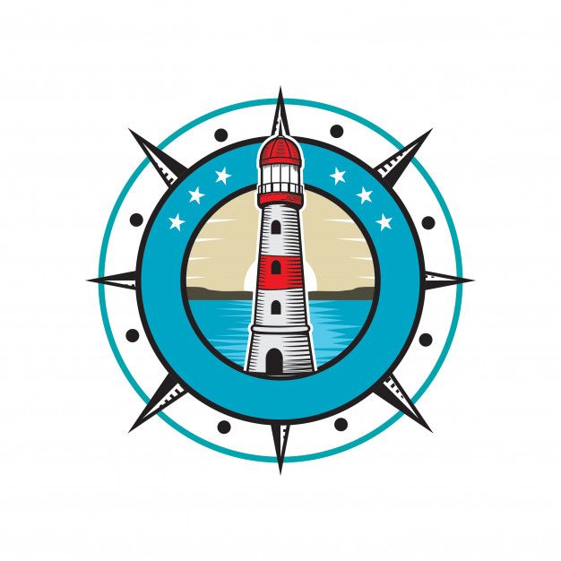 626x626 Lighthouse Inside Compass Logo Vector Premium Download
