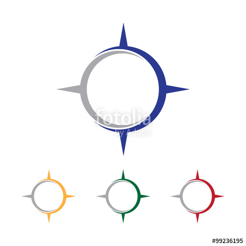 500x500 Simple Compass Letter Initial Logo Vector Stock Image And Royalty