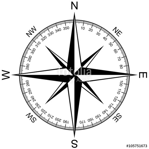 500x500 Compass Rose Isolated On White Vector Stock Image And Royalty