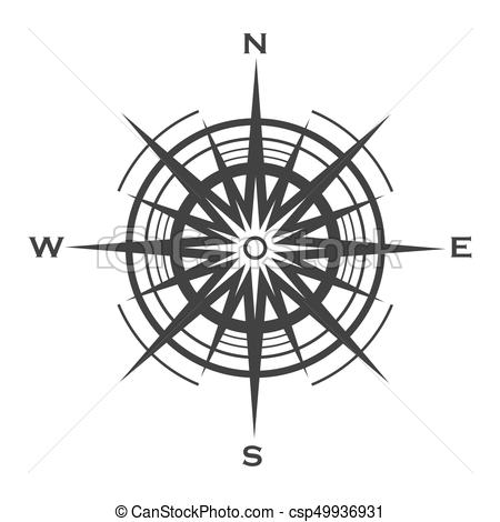450x470 Compass Rose Icon Isolated On White Background. Wind Rose Vector