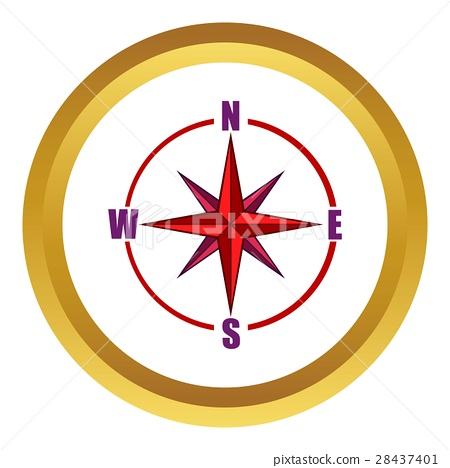 450x468 Red Compass Rose Vector Icon, Cartoon Style