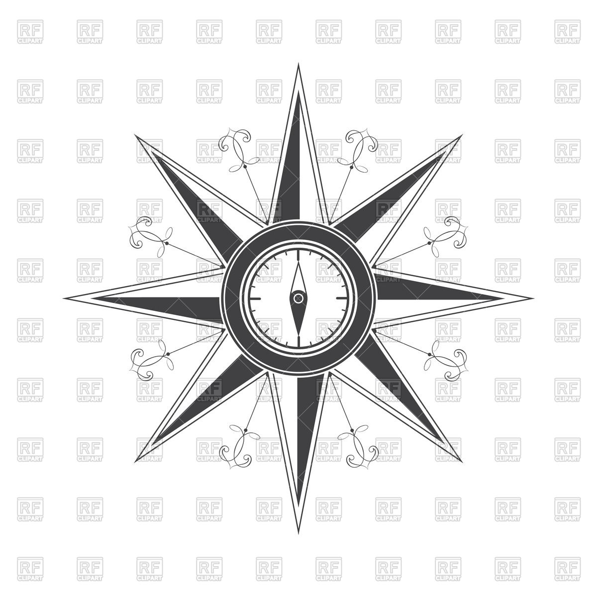 1200x1200 Simple Compass Rose (Wind Rose) Vector Image Vector Artwork Of