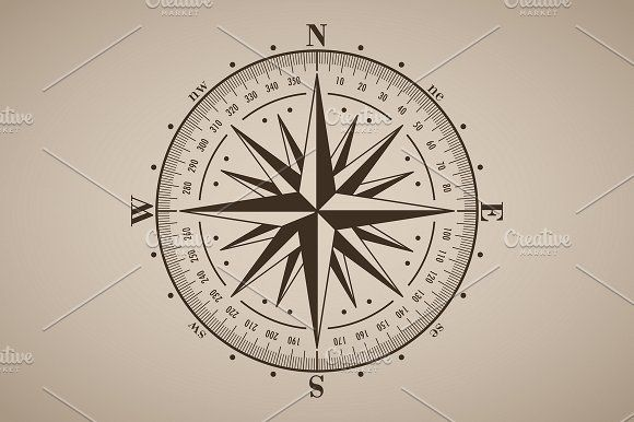 580x386 Vector Compass Rose (Windrose)