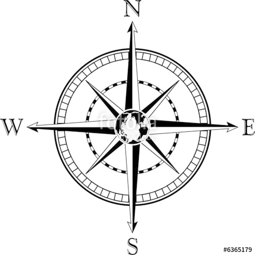 500x499 Compass Rose. Vector Illustration. Black And White. Stock Image
