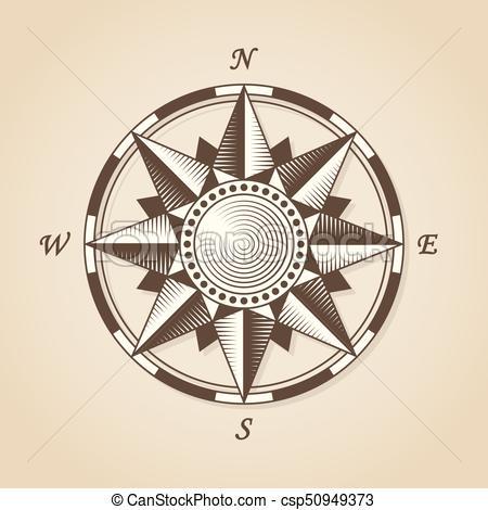 450x470 Vintage Old Antique Nautical Compass Rose. Vector Sign Label Emblem.