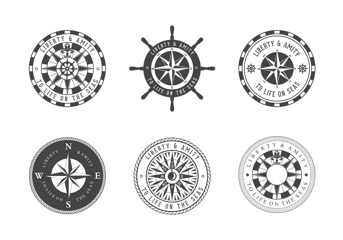 1400x980 Wind And Nautical Compass Rose Vectors