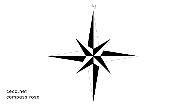 640x360 Autocad Drawing Compass Rose North Arrow Dwg Dxf