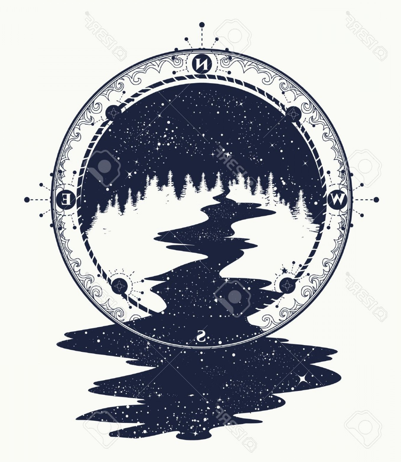 1356x1560 Photostock Vector Star River Flows From The Compass Tattoo Art