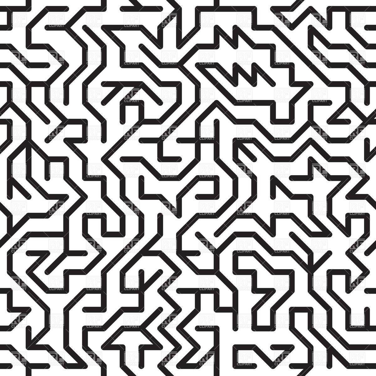 1200x1200 Black And White Complex Maze Vector Image Vector Artwork Of