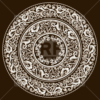 400x400 Complex Floral Round Ornament Vector Image Vector Artwork Of