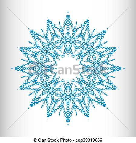 450x470 A Complex Vector Snowflake Of Many Small Elements. Vector