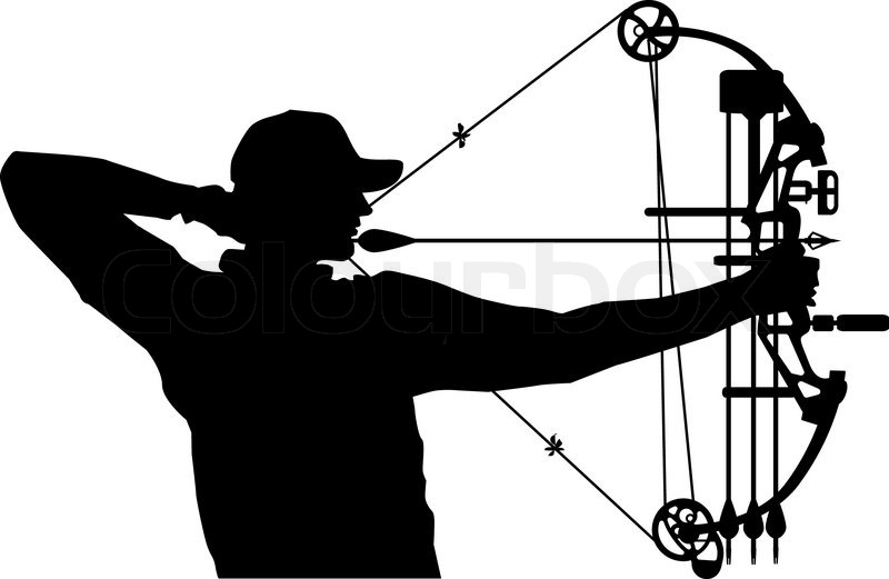 800x521 Silhouette Of Bow Hunter Drawing Bow Stock Vector Colourbox