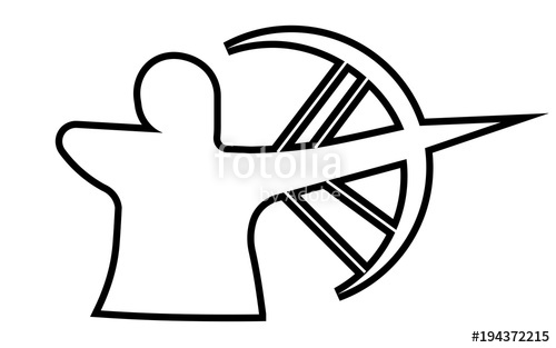 500x313 Compound Bow Silhouette Outline On White Background Stock Image