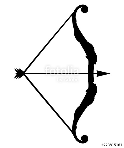 417x500 Black Silhouette. Bow Weapon With Arrows. Medieval And Fantasy