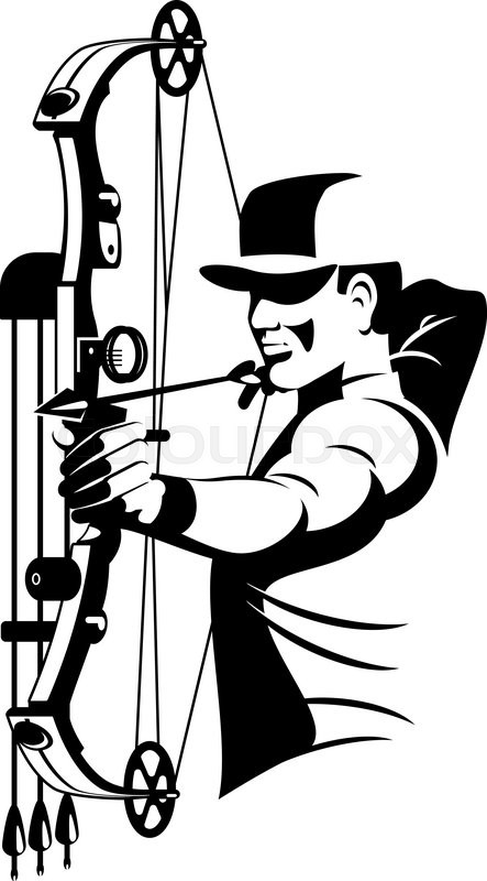 443x800 Bow Hunter Aiming With Compound Bow Stock Vector Colourbox