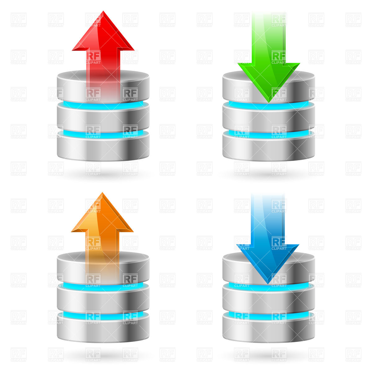 1200x1200 Computer Cylindrical Database Icon With Arrow Vector Image