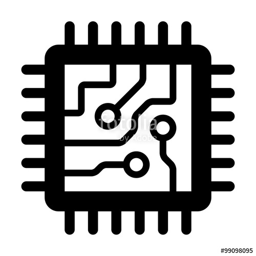 500x500 Computer Chip Circuit Board Flat Icon For Apps And Websites Stock