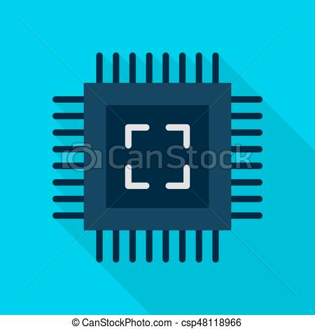 450x470 Computer Chip Flat Icon. Computer Chip Icon. Vector Illustration