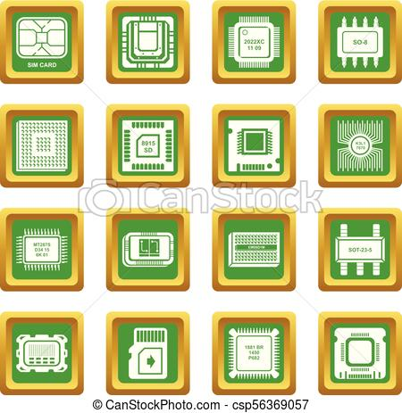 450x463 Computer Chips Icons Set Green Square Vector. Computer Chips Icons