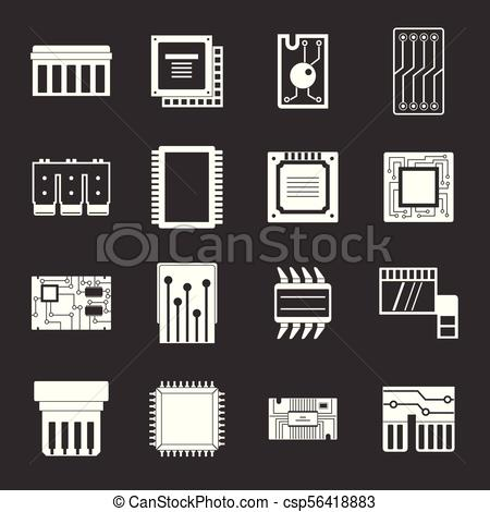 450x470 Computer Chips Icons Set Grey Vector. Computer Chips Icons Set