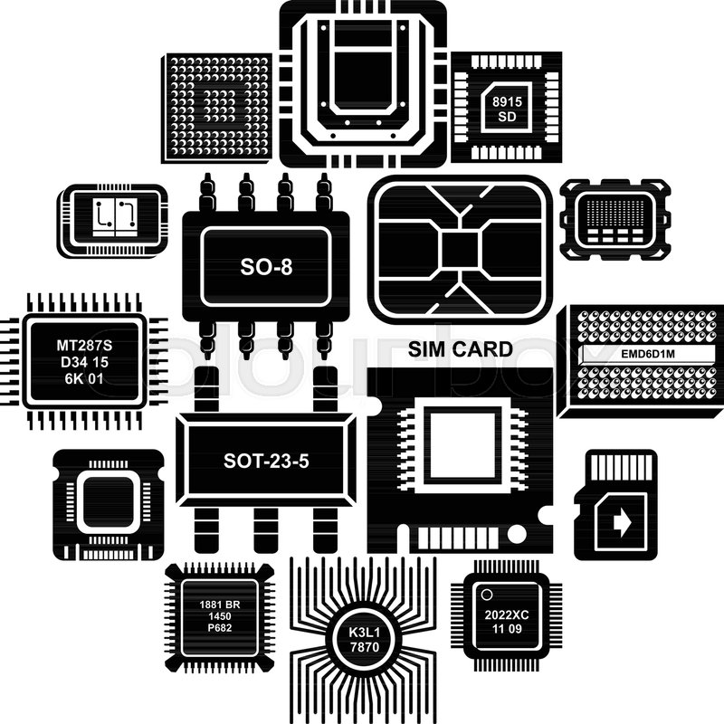800x800 Computer Chips Icons Set. Simple Illustration Of 16 Computer Chips