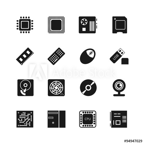 500x500 Computer Chips Vector Icons Set