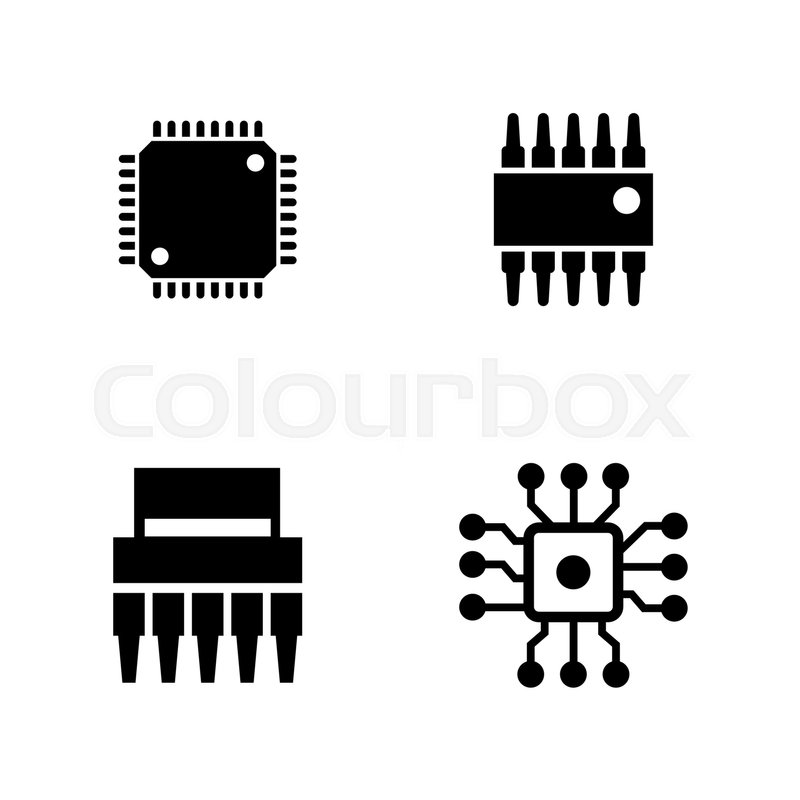 800x800 Computer Chips. Simple Related Vector Icons Set For Video, Mobile