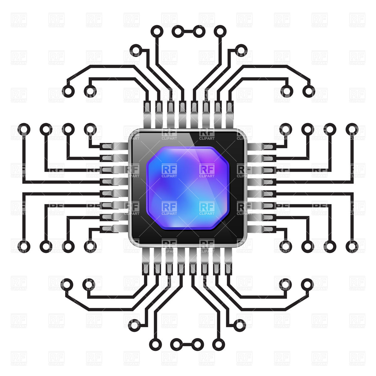 1200x1200 Cpu, Computer Chip Vector Image Vector Artwork Of Technology