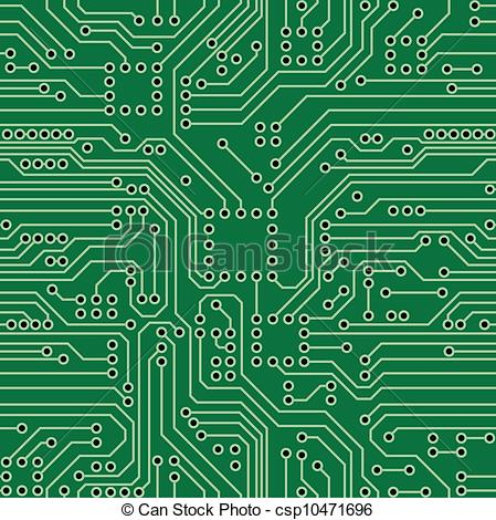 449x470 Circuit Board. Green Computer Circuit Board. Seamless Pattern. Vector.