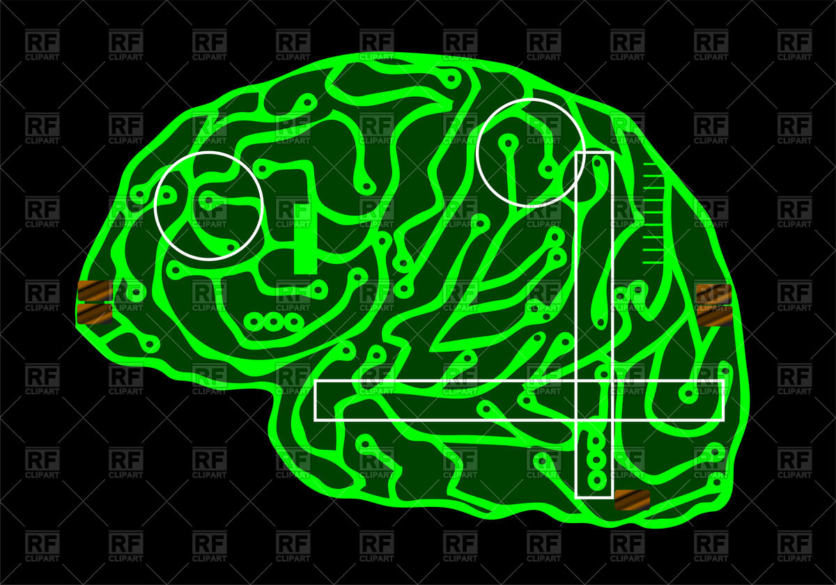 1200x840 Digital Brain Covered With Computer Circuit Board Streaks Vector