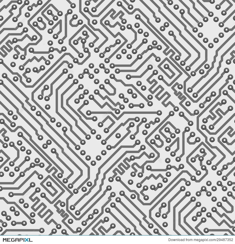 800x830 Circuit Board Vector Computer Seamless Pattern Illustration
