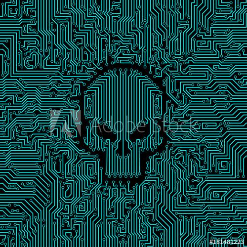 500x500 Circuit Board Skull Vector Illustration Of Abstract Computer
